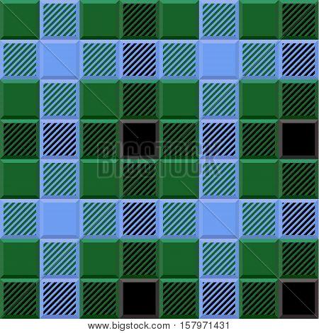 3D Lumberjack Tartan Seamless Pattern in Black Blue Green and Gray. Trendy volumetric illustration for wallpapers. Traditional Scottish ornament. Tartan plaid inspired background.