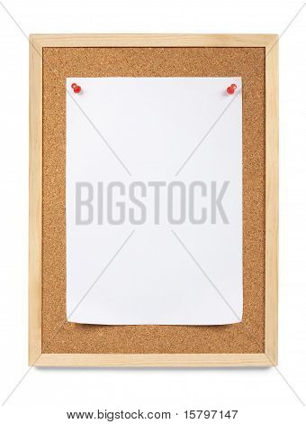 Pinned paper, notice board.
