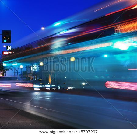 Speeding bus, blurred motion poster