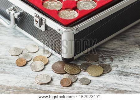 Box With Different Collector's Coins