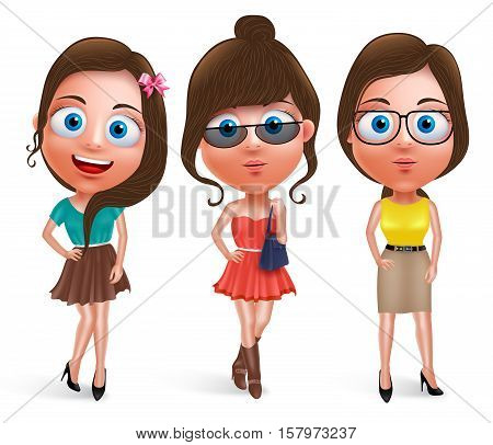Fashion teen girl model vector characters set wearing stylish dress with different hairstyles, eyeglasses and pose isolated in white background. Vector illustration.