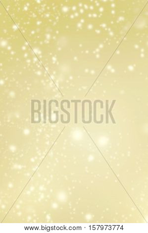 Golden Abstract glittering stars on bokeh background. Festive yellow and white color sparkling vintage wall paper