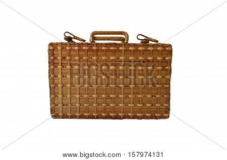 Isolated Bamboo Basketry Chest On White Background