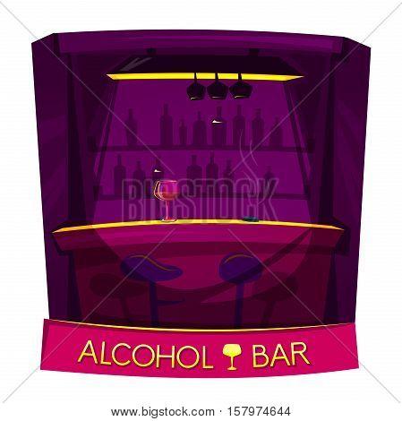 Alcohol bar concept design, nightclub lifestyle, vector illustration