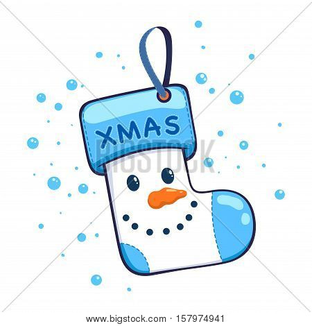 Stock vector of Snowman Christmas hanging socks decoration