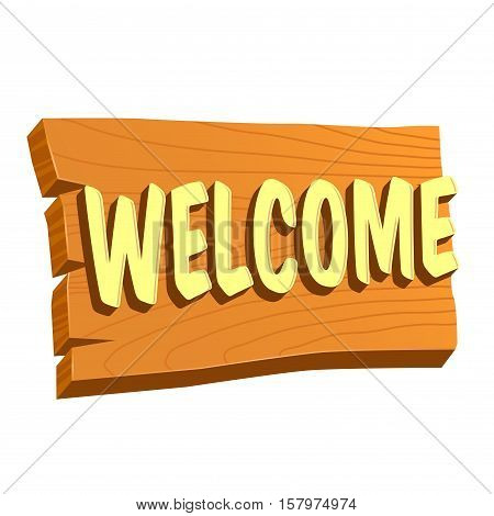 Vector stock of natural wooden welcome sign board