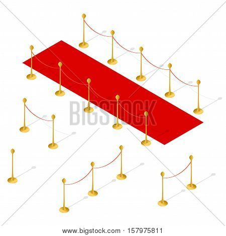 Red Carpet and Rope Barrier Set Isometric View. Vector illustration