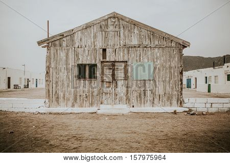 Old wood cabana in the middle of abandoned place