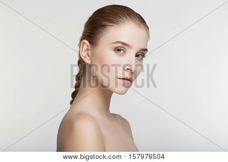Beauty portrait young woman healthy skin care health white background smile healthcare treatment copy space salve