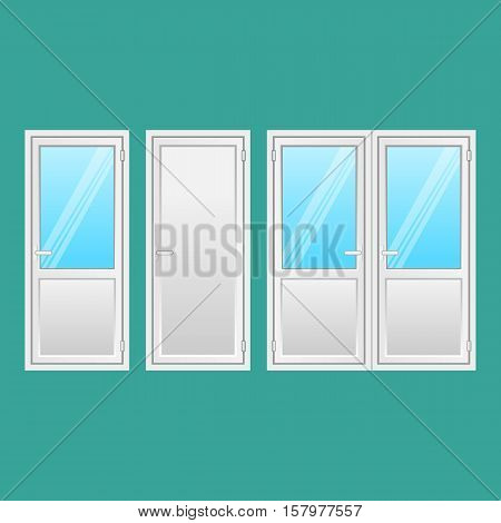 Aluminium doors set. Front doors to houses and buildings in flat design style isolated. Interior door, connecting door with window. Types of elegant doors from light strong metal. Vector illustration.