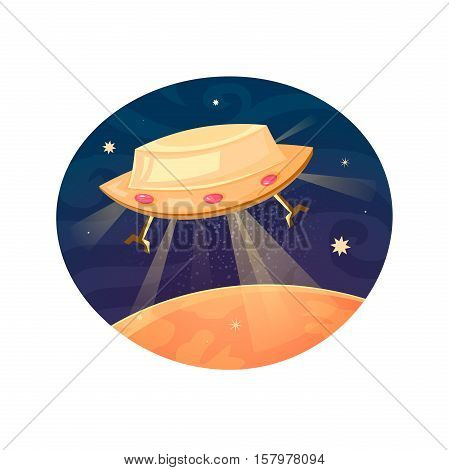 Unknown flying object concept design, UFO label with flying saucer, a beautiful print on a T-shirt for the fan astronomy, vector illustration