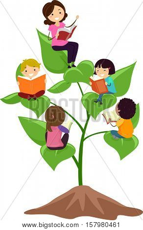 Stickman Illustration of a Group of Preschool Kids Reading Books While Sitting on Giant Leaves