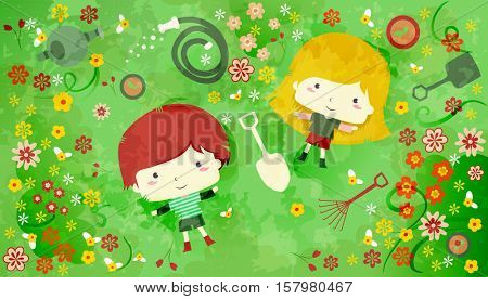 Illustration of a Redheaded Boy and a Blonde Girl Lying in the Midst of Flowers and Gardening Tools