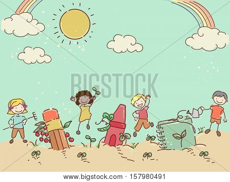 Stickman Illustration of a Group of Preschool Kids Growing School Supplies