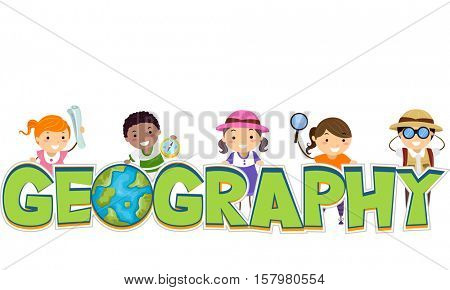 Typography Illustration of a Group of Preschool Kids Standing Behind the Word Geography