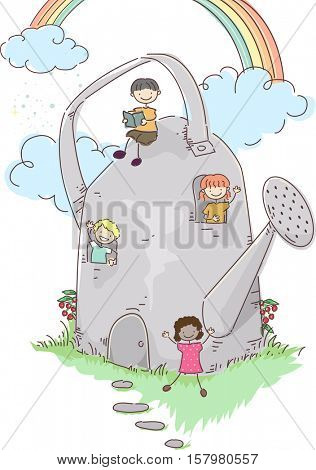 Stickman Illustration of a Group of Preschool Kids Hanging Around a House Shaped Like a Watering Can