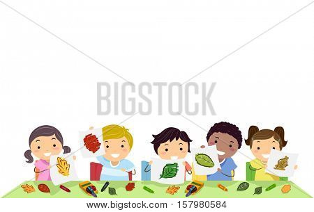Stickman Border Illustration of a Group of Preschool Kids Presenting Leaves with Different Colors