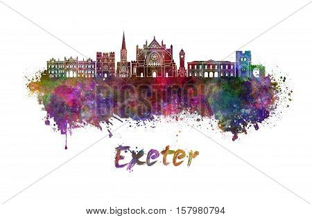 Exeter skyline in watercolor splatters with clipping path