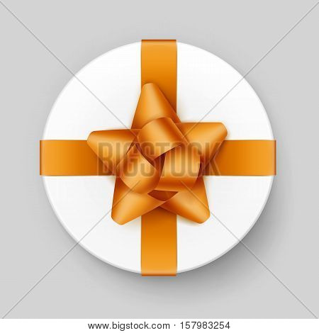 Vector White Round Gift Box with Shiny Yellow Golden Bow and Ribbon Top View Close up Isolated on Background