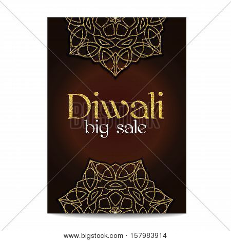 Diwali big sale banner. Indian festival of lights. Flyer with gold glitter shiny floral mandala. Special discount offer. Realistic gold sequins with blinks. Vector EPS10 illustration.
