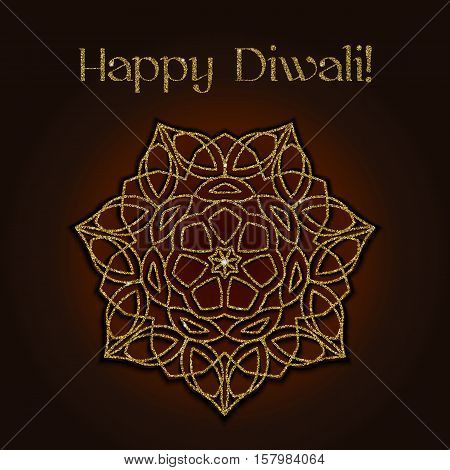 Diwali celebration background. Indian festival of lights. Greeting card with gold glitter shiny floral mandala and text Happy Diwali. Realistic gold sequins with blinks. Vector EPS10 illustration.