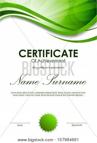 Certificate of achievement template with green dynamic wavy swirl background and seal. Vector illustration