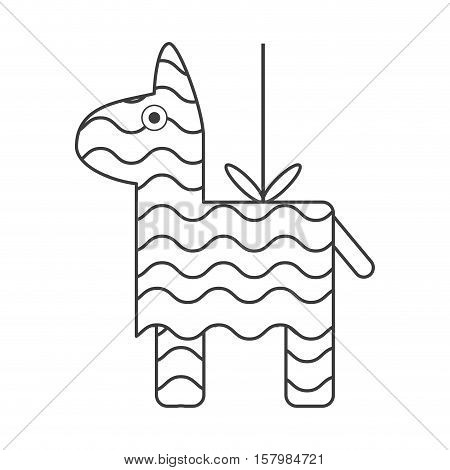 Pinata icon. Mexican culture tourism landmark and latin theme. Isolated design. Vector illustration piata