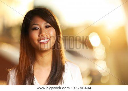 Portrait of a beautiful asian girl. Shallow DOF.