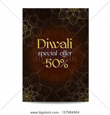 Diwali big sale banner. Indian festival of lights. Flyer with gold glitter shiny text and floral mandala. Special discount offer. Realistic gold sequins with blinks. Vector EPS10 illustration.