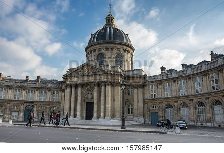PARIS FRANCE - OCTOBER 11 2015: The building of French Institute in the historical centre of Paris the capital and most visited city of France