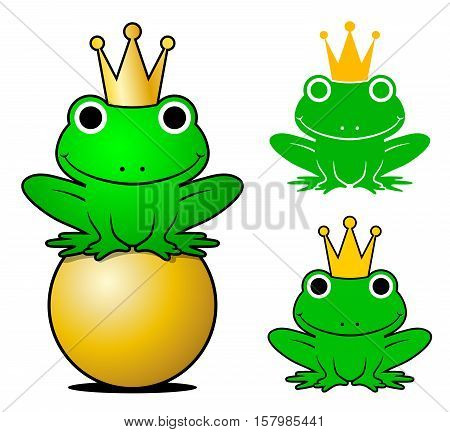 Vector frog prince set wearing crowns while one sitting on gold ball isolated on white