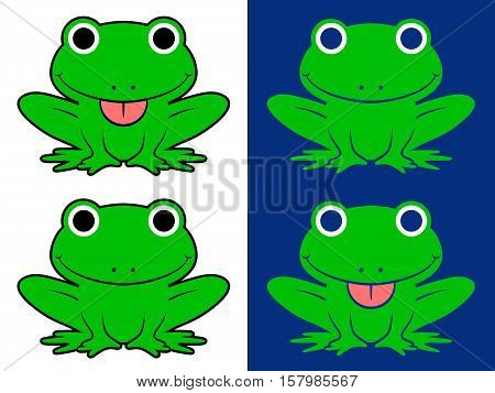 Vector set of green cartoon frogs sticking out tongue over white and blue background