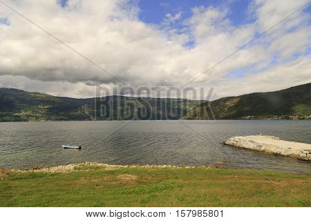 This is view of the coast of Nordfjord near town Olden.