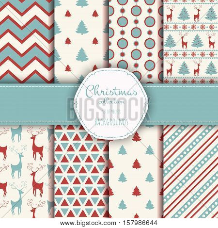 Geometric monochrome seamless pattern Christmas for winter holidays design with snowflakes. Modern Christmas pattern.