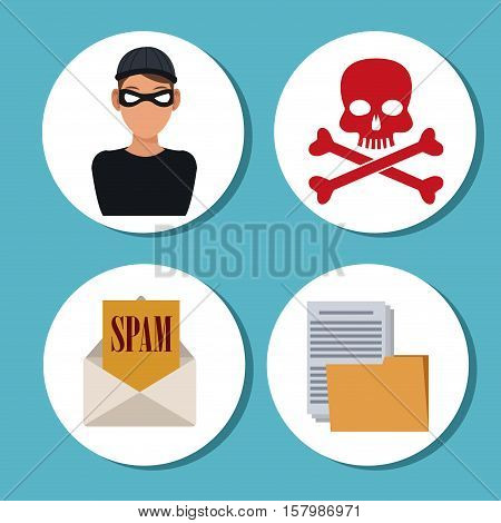 Hacker skull file and envelope icon. Cyber security system warning and protection theme. Vector illustraton