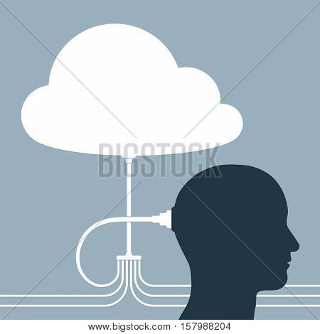 Vector illustration of cloud and human connected with cables over gray background