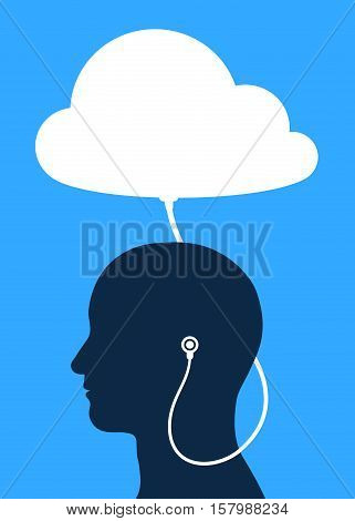 Vector illustration of man wearing headphones connected to cloud service