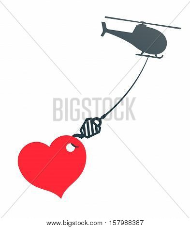 Vector illustration of huge heart hanging from helicopter isolated on white