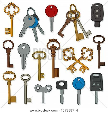 Vector hand drawn doodle of various vintage and modern keys collection isolated on white