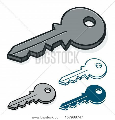 Vector doodle of hand drawn modern keys isolated on white representing security