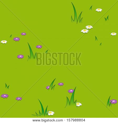 Seamless vector cartoon pattern of flowers blooming on grassy field background at park