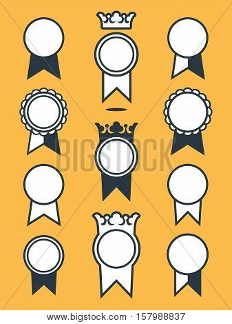 Vector flat design icons of medal badges collection with ribbons isolated against yellow background