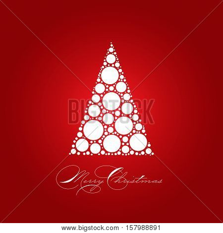 Holiday card theme with dotted snowy white tree on red background and label Merry Christmas. Simple elegant and modern vectror illustration.