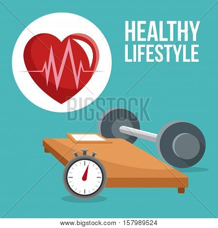 Bed chronometer weight and heart icon. Healthy lifestyle fitness sport and bodycare theme. Vector illustration