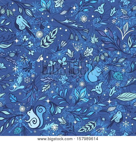 Seamless sketch new year blue winter background with leaves and animals