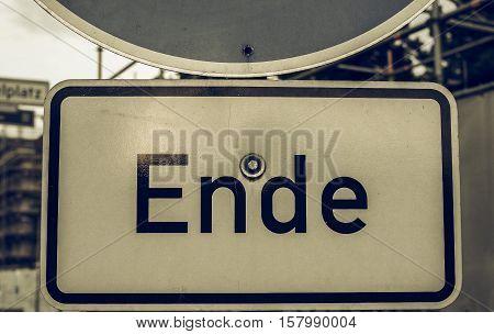 Vintage Looking Ende Sign In Berlin