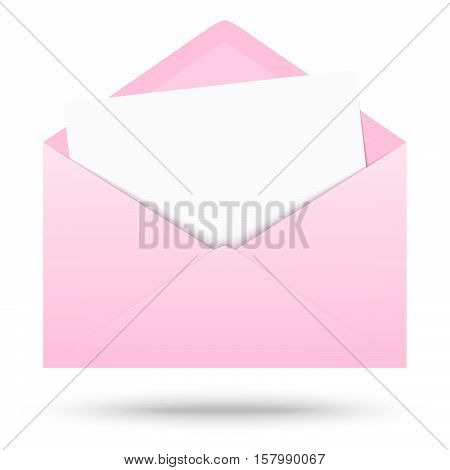 pink colored opened envelope with white empty paper