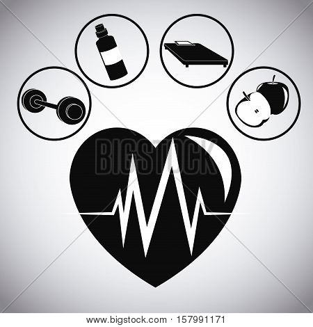 Heart apple bottle bed and weight con. Healthy lifestyle fitness sport and bodycare theme. Vector illustration
