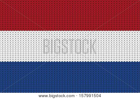 Knitted flag of Netherlands, knitted symbol of Netherlands