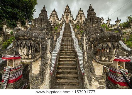 Traditional balinese temple guards at the entrance to Pura Penataran Agung Lempuyang on Bali, Indonesia